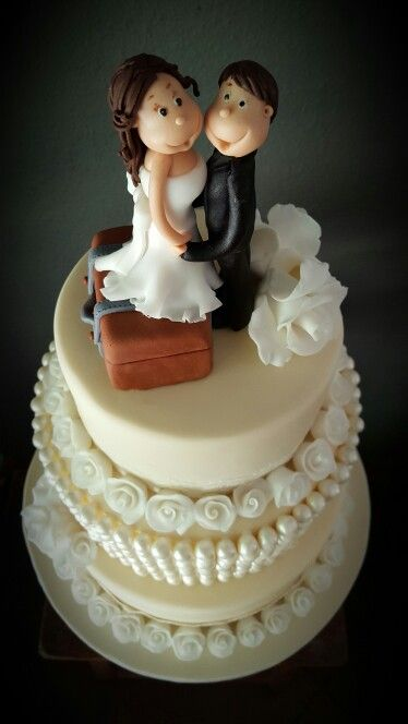 Sugar paste bride & groom topper