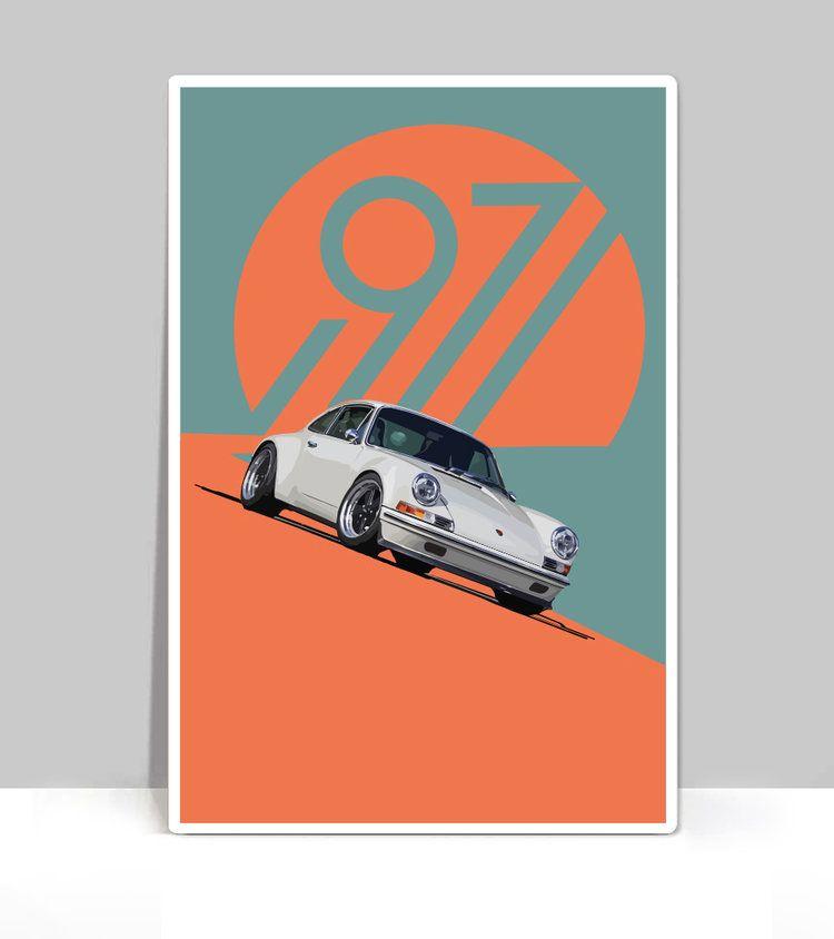 The Air Factor-ALUMINUM POSTERS Air Cooled 1971 White Porsche 911 Classic Car. Aluminum Poster