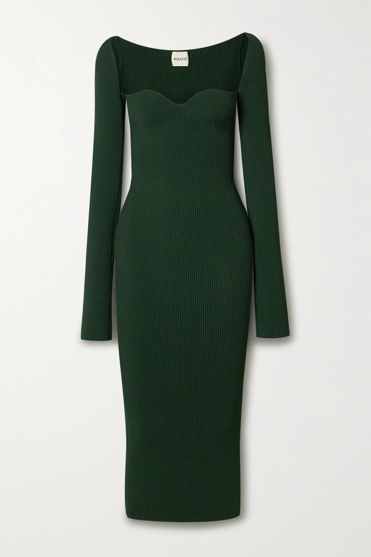 Green Beth Ribbed Knit Midi Dress Khaite Knit Midi Dress Sweater Dress Women Trending Dresses [ 1500 x 1000 Pixel ]
