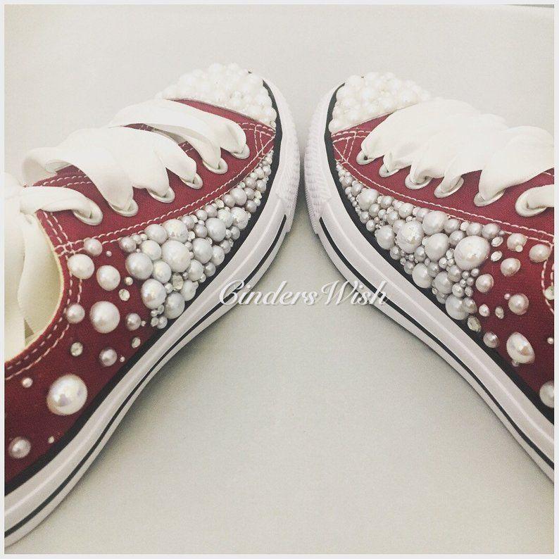 6d0659c5f18ab Pearl Converse /Burgundy Wedding converse/Bridal chucks /   Etsy ...