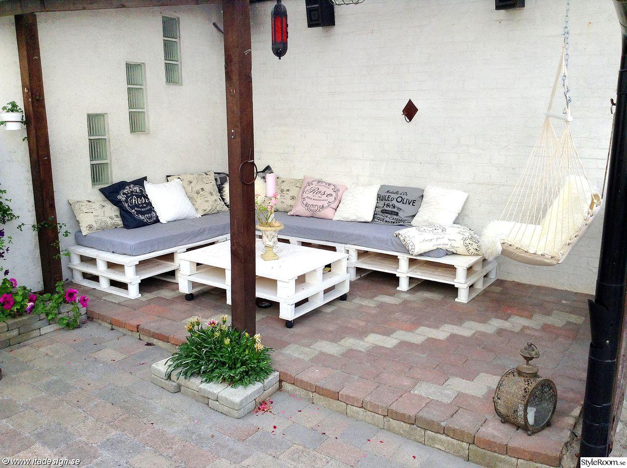 lounge,lastpallar,pallar,uteplats,uterum,trädgård,myshörna Möbler av pall Pinterest Uterum