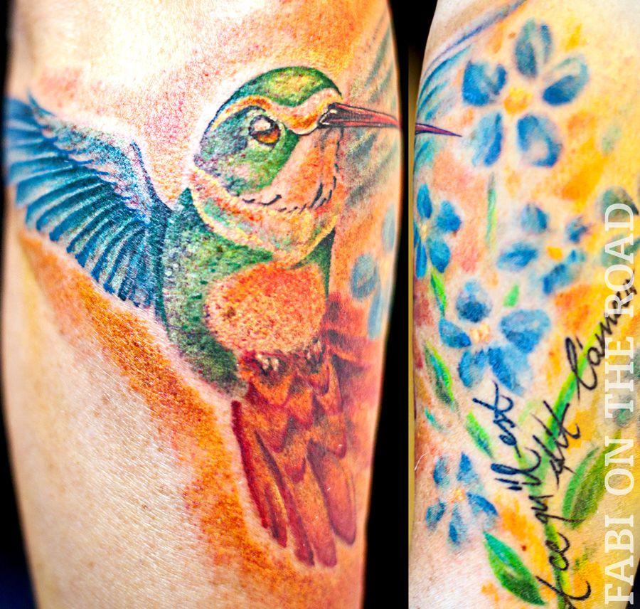 Colibri Tattoo Freehand Aquarell Vegan Dusseldorf Nrw Mit