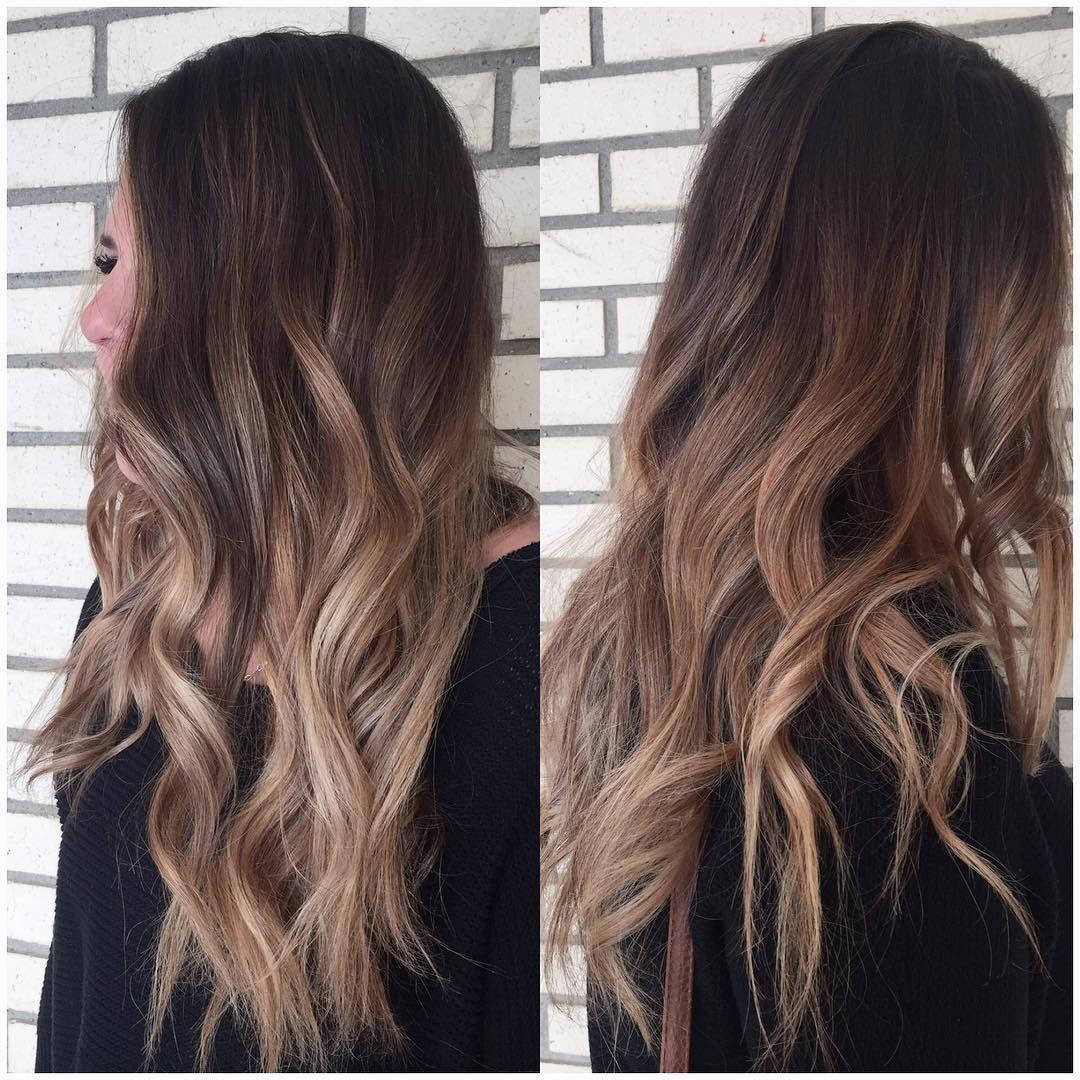 darkbrown hair with dustyrosy darkblonde balayage