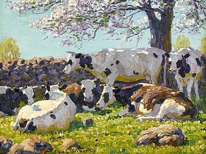 by Edward Volkert, an American painter born in Cincinnati, Ohio, known as America's painter of cows