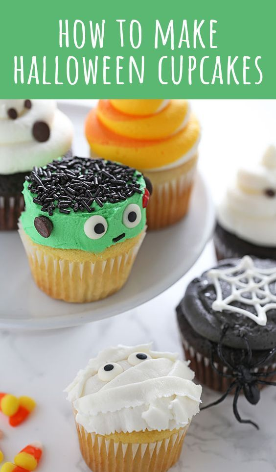 How to Make Halloween Cupcakes with 5 easy and fun decorating ideas - decorating halloween cakes