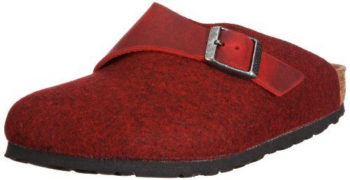 the best attitude e27bb 72c5a Birkenstock Clogs ''Basel'' from Leather/Wool in Rot/Rot ...