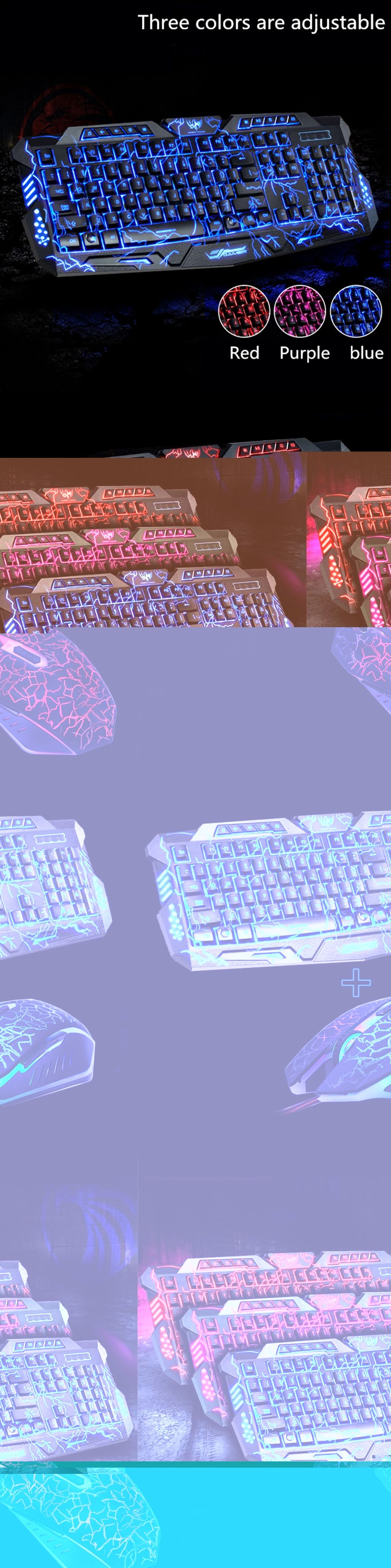 31abfaa7a4d M200 Purple/Blue/Red LED Breathing Backlight Pro Gaming Keyboard Mouse  Combos USB Wired