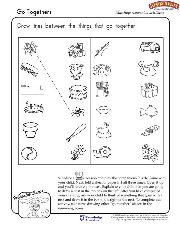 Go Togethers - Free Critical Thinking Worksheet for Kindergarten ...