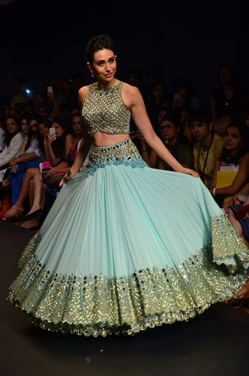 Karisma Kapoor Net Resham & Zari Work Blue Semi Stitched Bollywood ...