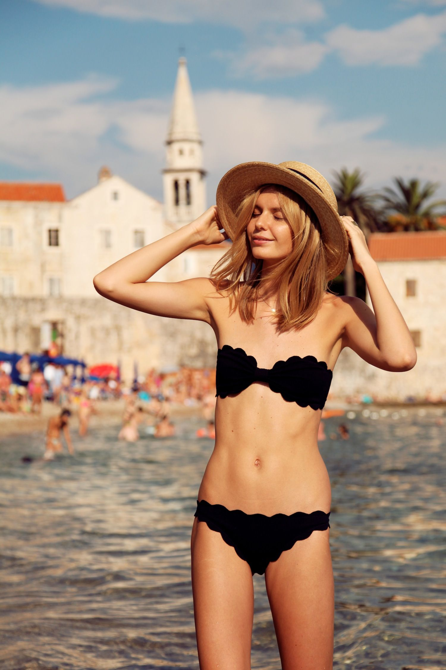 28cf389a79f Jessica Stein of Tuula Vintage making me crave for sunshine. How cute is  this bathing suit and little boat hat?
