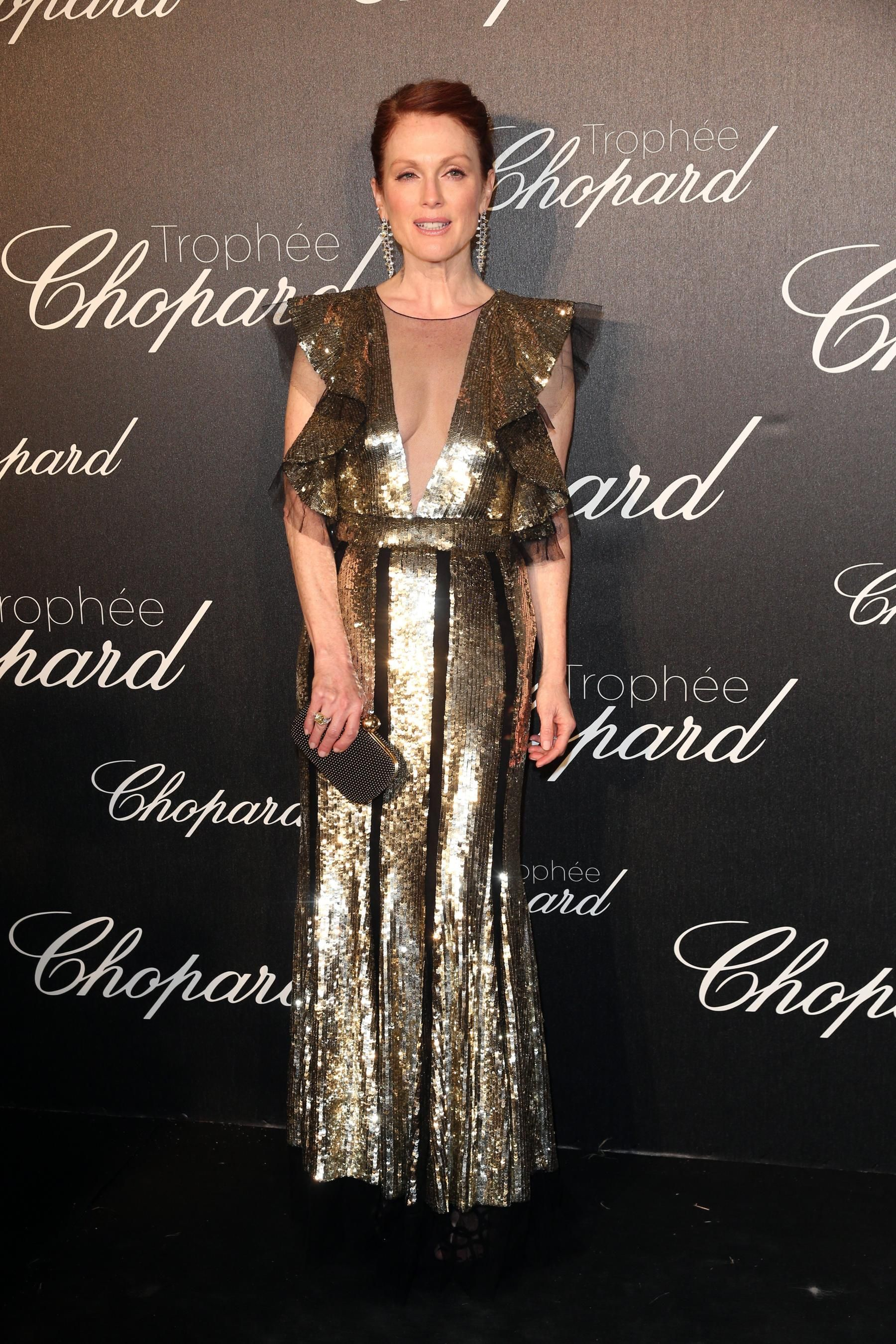 Julianne Moore in Alexander McQueen at the Chopard Trophy Ceremony. Photo: Gisela Schober/Getty Images.