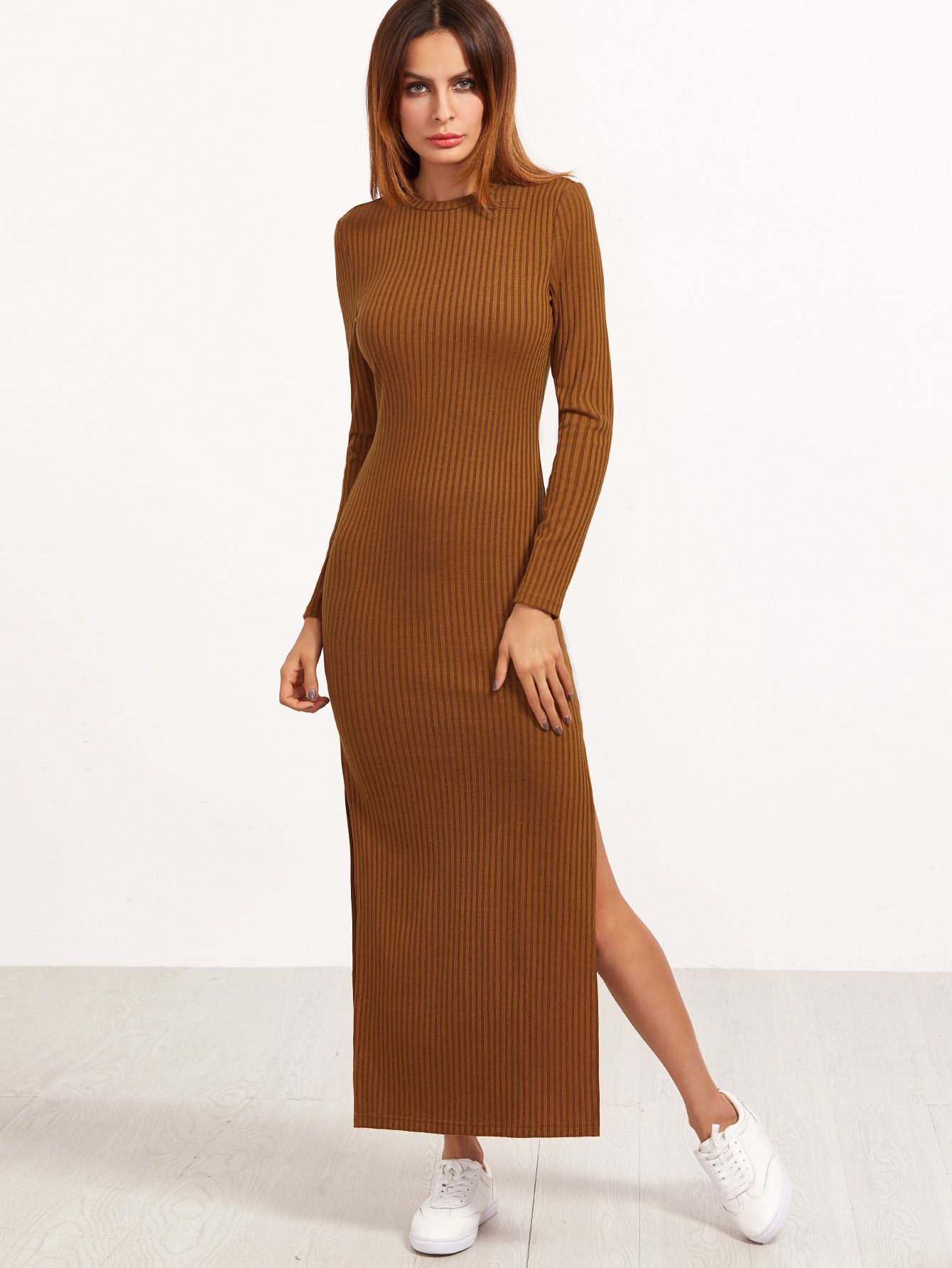 Brown long sleeve high slit ribbed dress makemechiccom brown