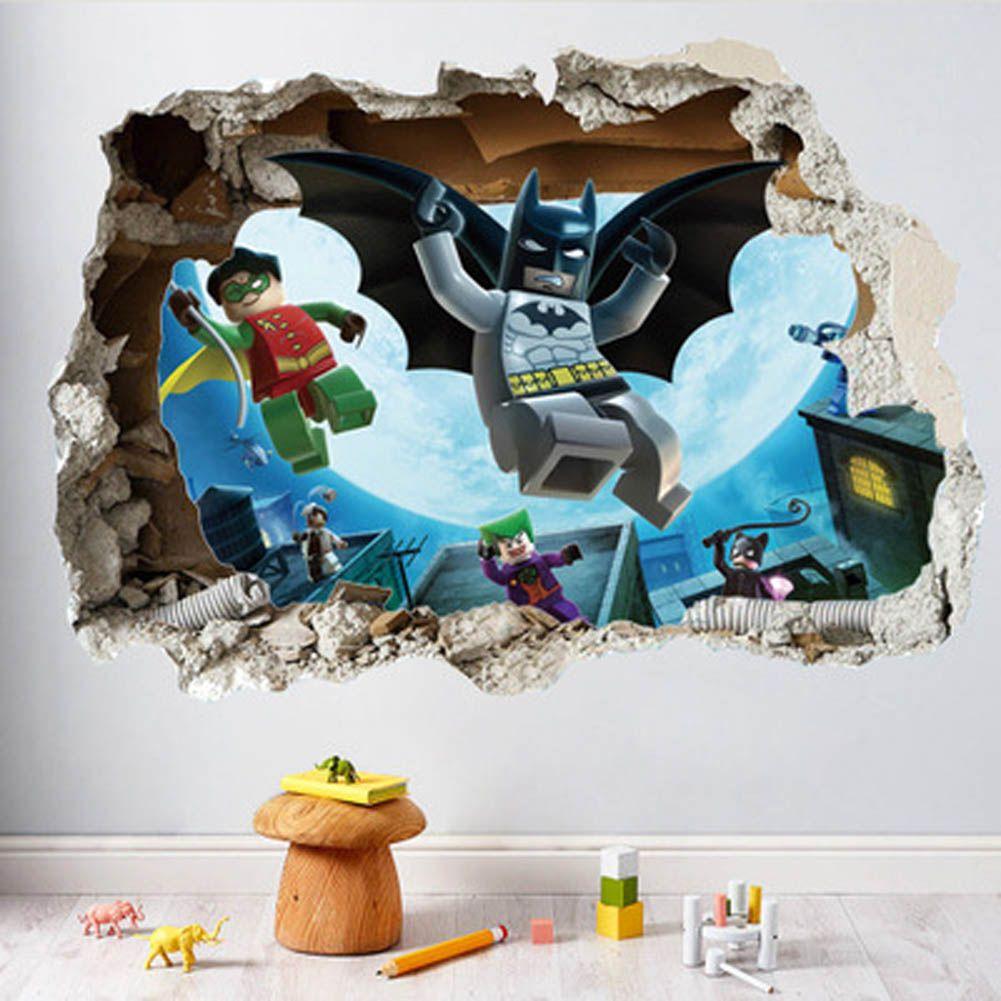 Batman super heros broken wall stickers kids room decoration movie