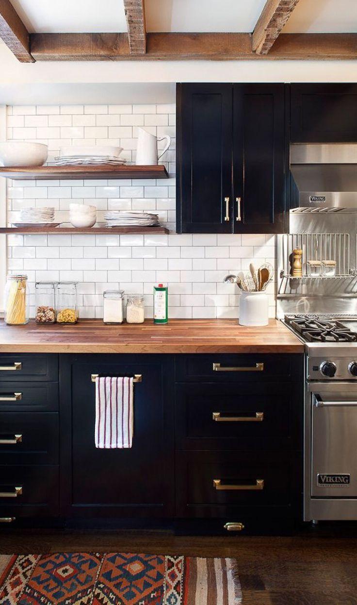 black kitchen cabinets and butcher block countertops Decor & Interiors Kitchen Cabinets ...