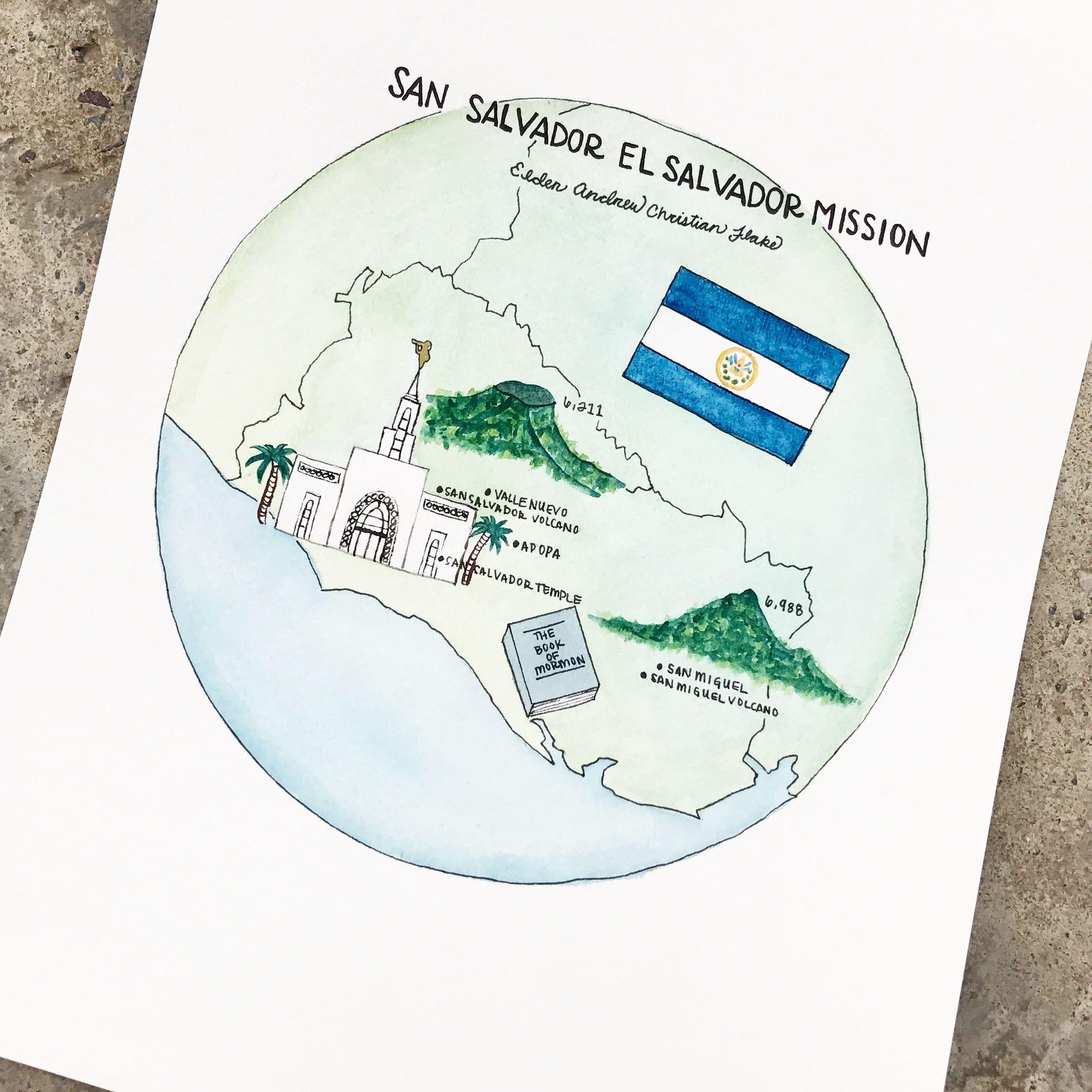Watercolor of El Salvador mission @every_hue instagram