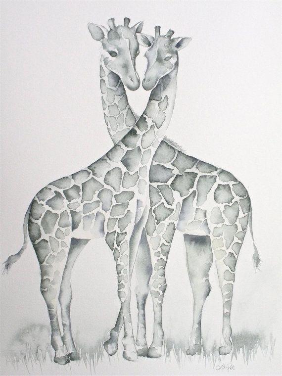 Giraffes In Love Print Of My Original Watercolor Painting