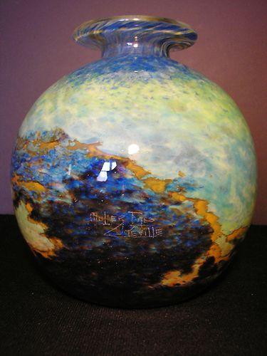 "VINTAGE MULLER FRERES LUNEVILLE SIGNED ART GLASS MOTTLED BALL VASE 8"" ca 1920"