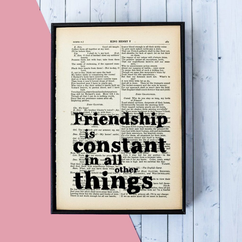 "Shakespeare Quotes About Friendship Shakespeare ""friendship Is Constant"" Quote  Vintage Book Page"
