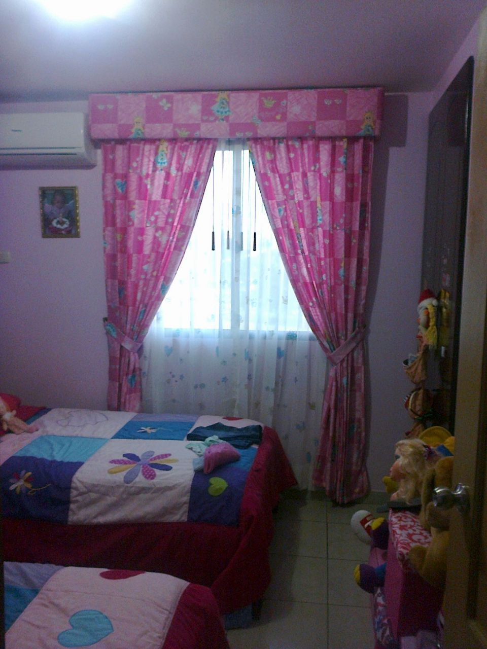 Cortinas para dormitorios de ni as tela pesada con visillo y cenefa tapizada decorcali pinterest - Cortinas de dormitorios ...