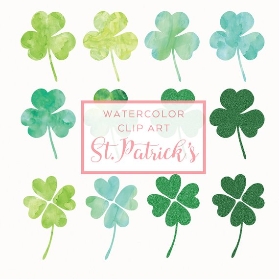 9474443d86b St.Patrick s Day Clip Art - Watercolor Clover Overlay - Handmade Watercolor  Clip Art - St.Patricks D
