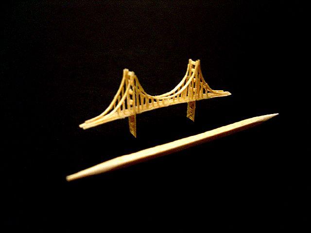 Toothpick Sculpture Golden Gate Bridge Steven J
