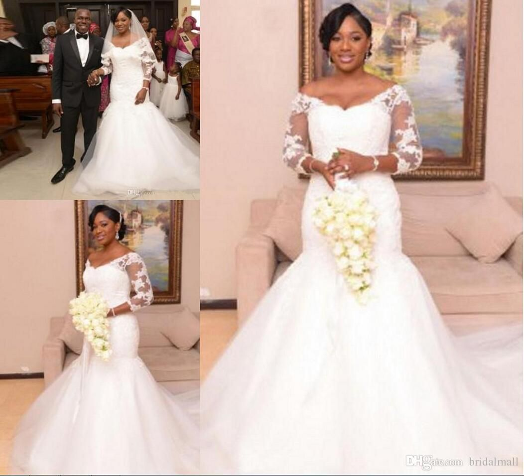 African mermaid wedding dresses off the shoulder beaded collar