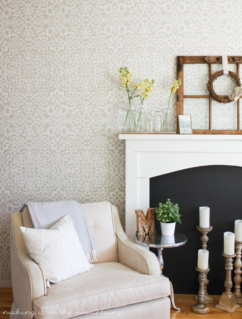 Palace Trellis Moroccan Wall Stencil | Painted accent walls, Wall ...