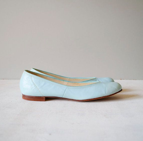 Vintage 60s Sky Blue Leather Flats