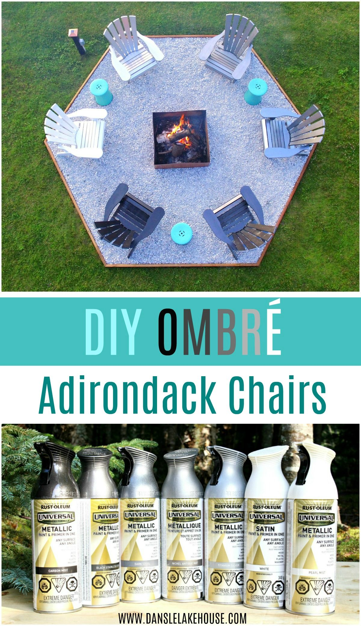 Fire Pit Makeover + DIY Ombre Adirondack Chairs (Sponsored by The Home Depot Canada) #diyfirepit