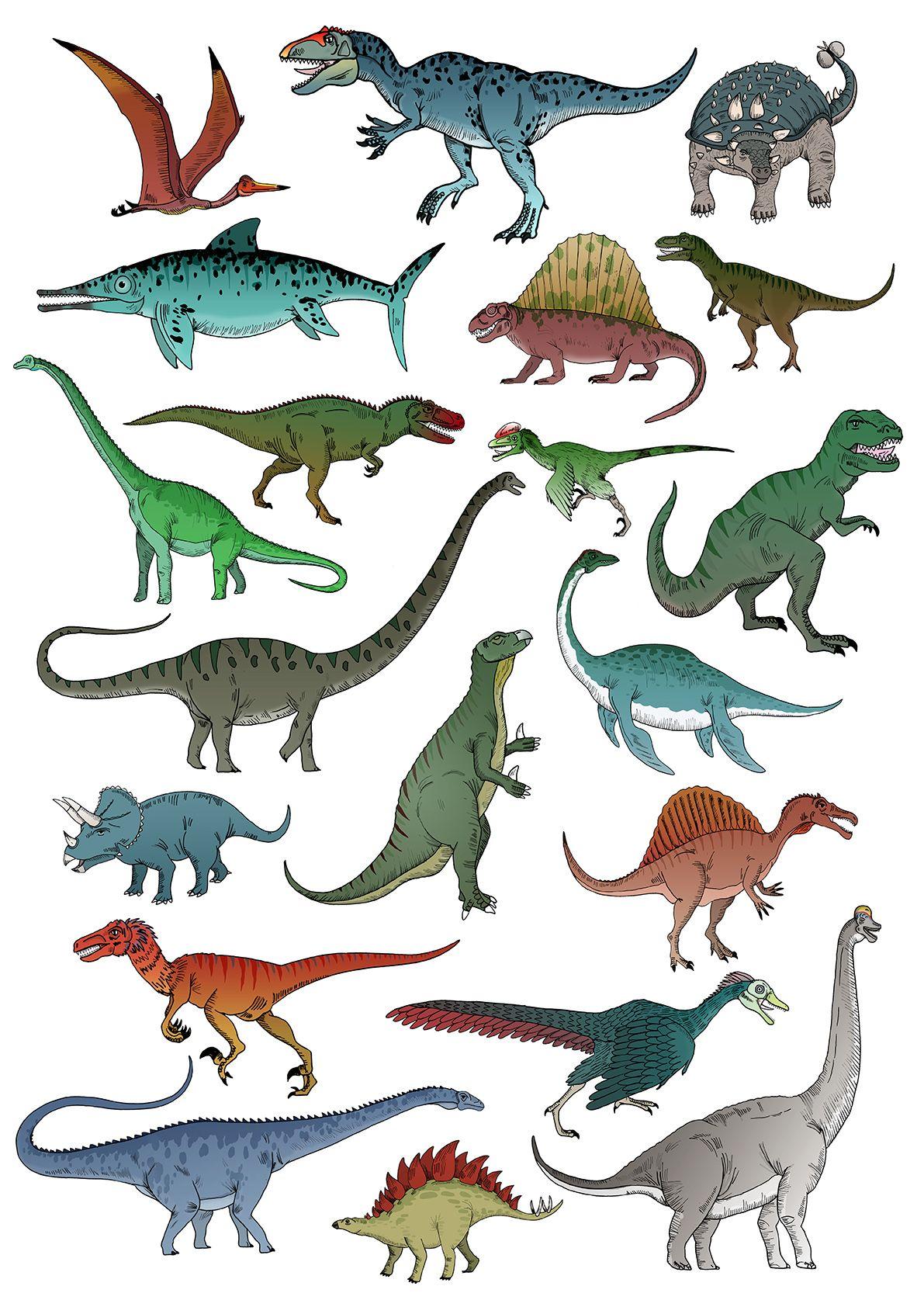 Картинка динозавра с названиями