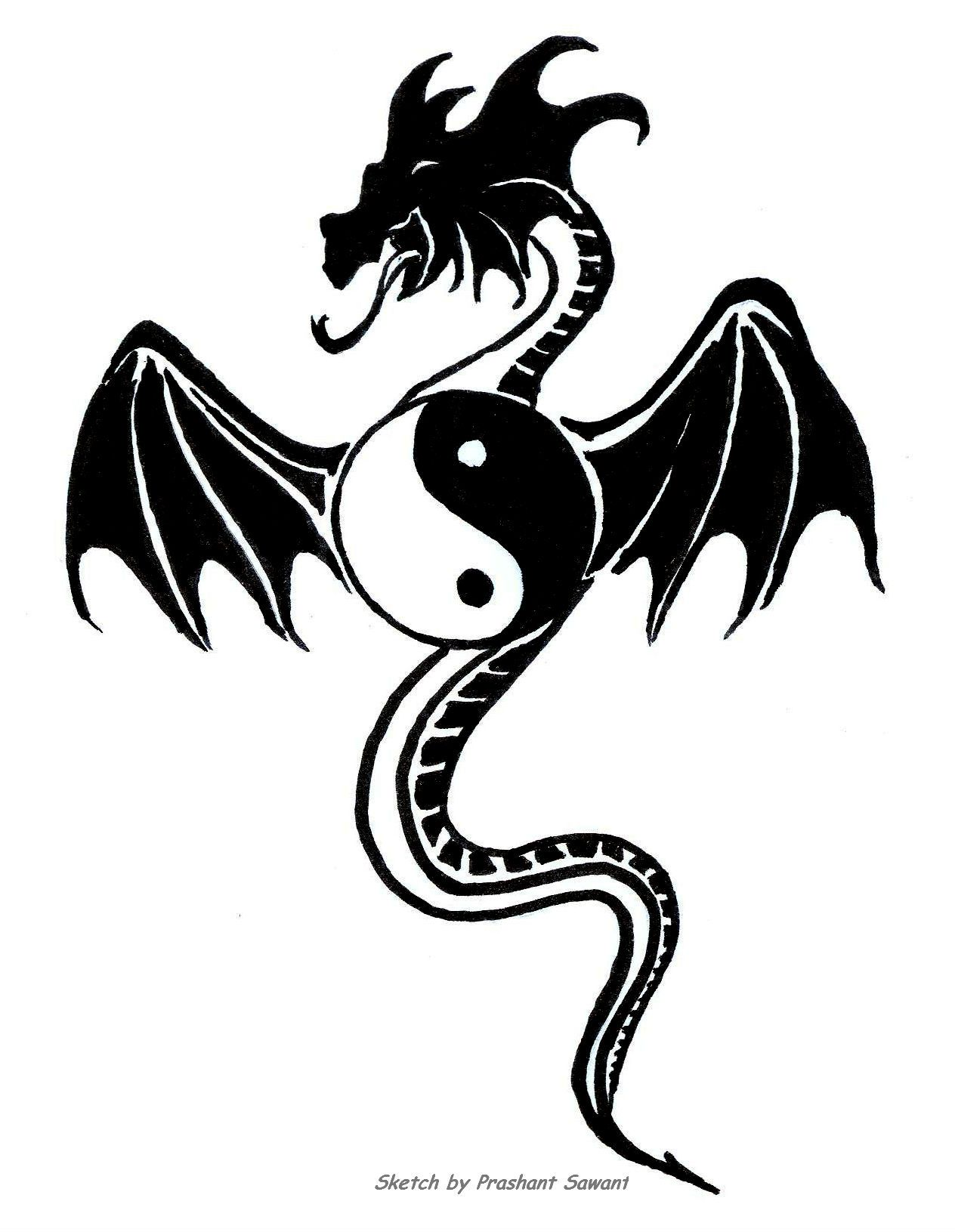 Simple Dragon Yin Yang Tattoo Design for Men on Sleeve Image | Yin ...
