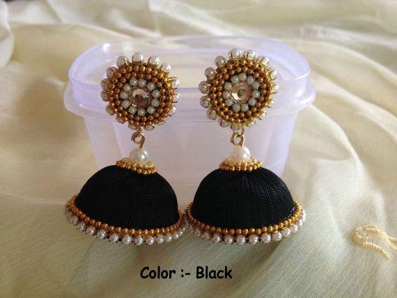 black silk thread earrings
