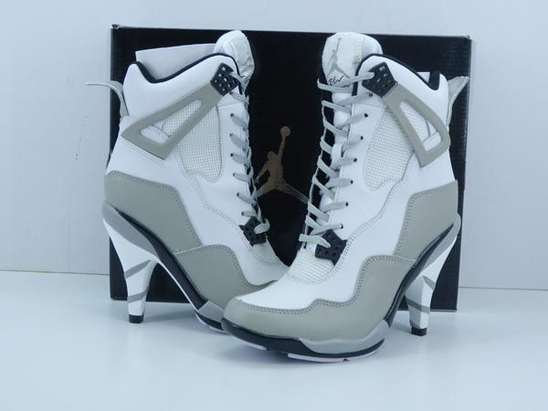 nike air jordan womens Aj4 high heels shoes white gray