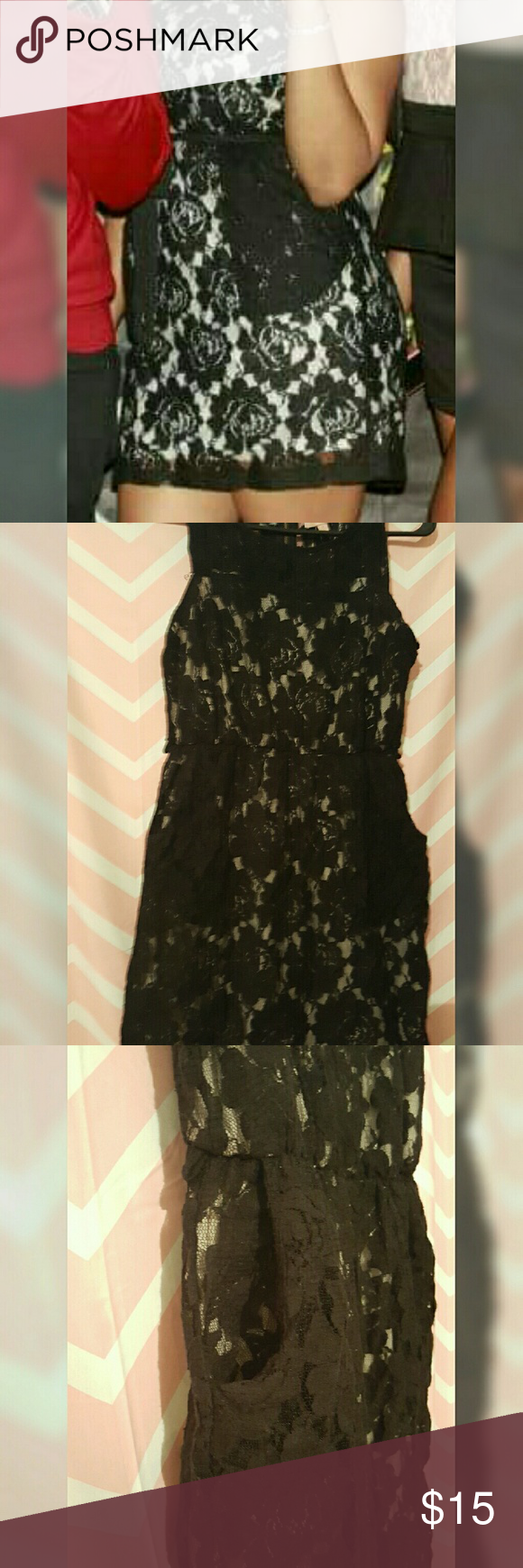 Black Hearts sleeveless dress Sleeveless black lace dress with pockets and belt loops (belt was not included when purchased). Hearts Dresses Midi