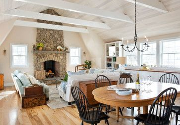 beachy family living dining great room with fieldstone fireplace and