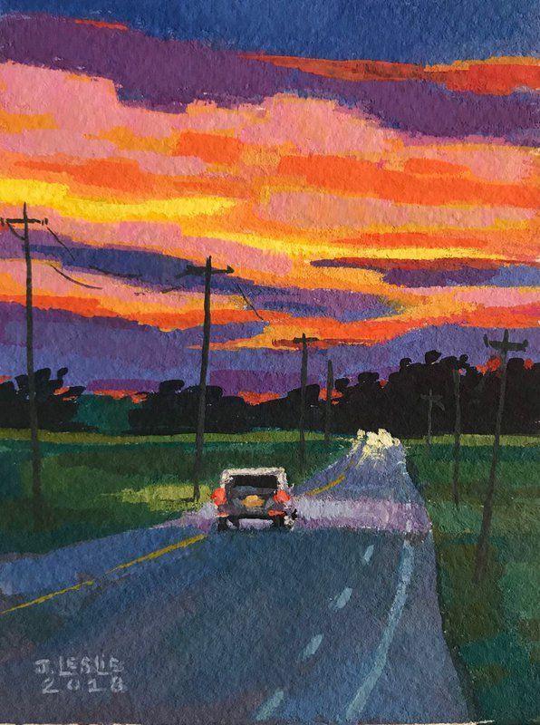 """Sunset Over Ohio Cornfields"" von Jimmy Leslie. Gouachemalerei auf Papierthema,  #a..."