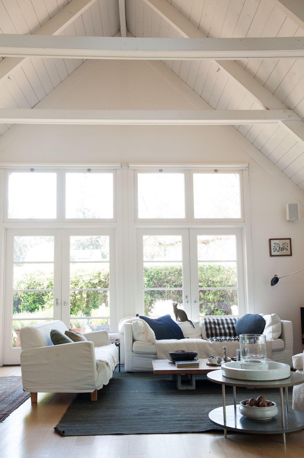 fabulous white living rooms vaulted ceilings beams | Julie Carlson - Remodelista Home Tour | Living room white ...