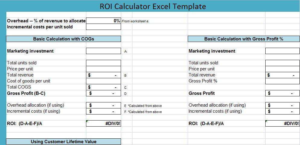 ROI Calculator Excel Template ExcelPerks Calculator