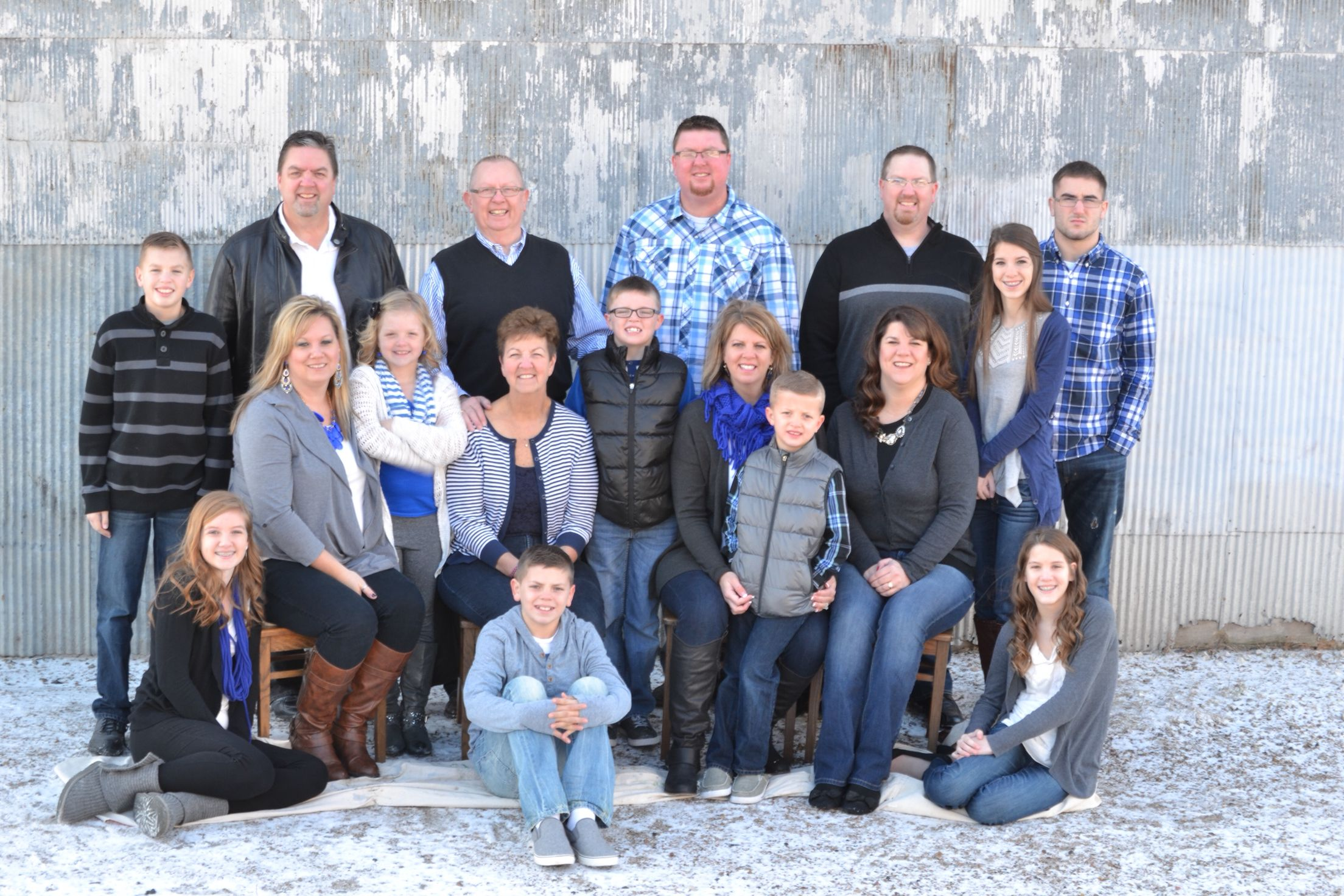 Family pose color scheme blue gray navy black and white
