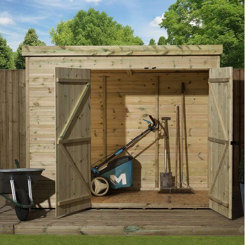 Brookfield 8 Ft W X 6 Ft D Shiplap Pent Wooden Shed Union Rustic Wooden Sheds Shiplap Cladding Plastic Sheds