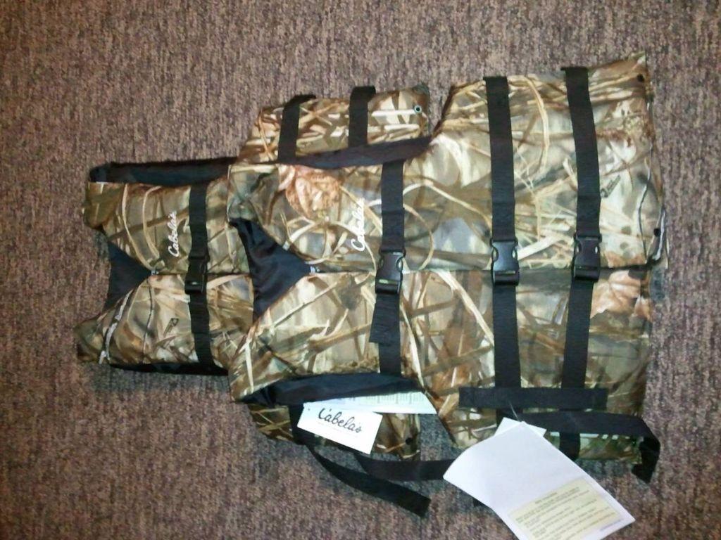 Cabela's Camo life jackets Backpacks, Diaper bag, Jackets