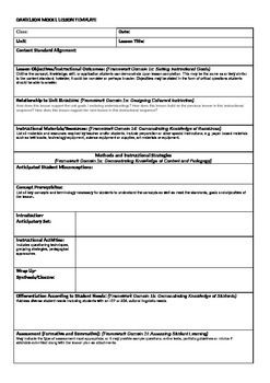 Danielson Model Lesson Plan Template  HistoryClassroom