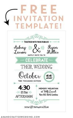 FREE Printable Wedding Invitation Template | Free printable, Cards ...