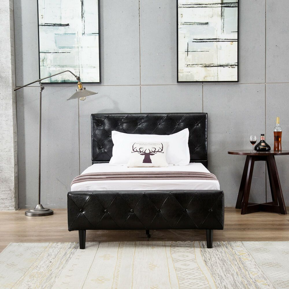Twin Size Leather Metal Bed Frame Tufted Upholstered Headboard
