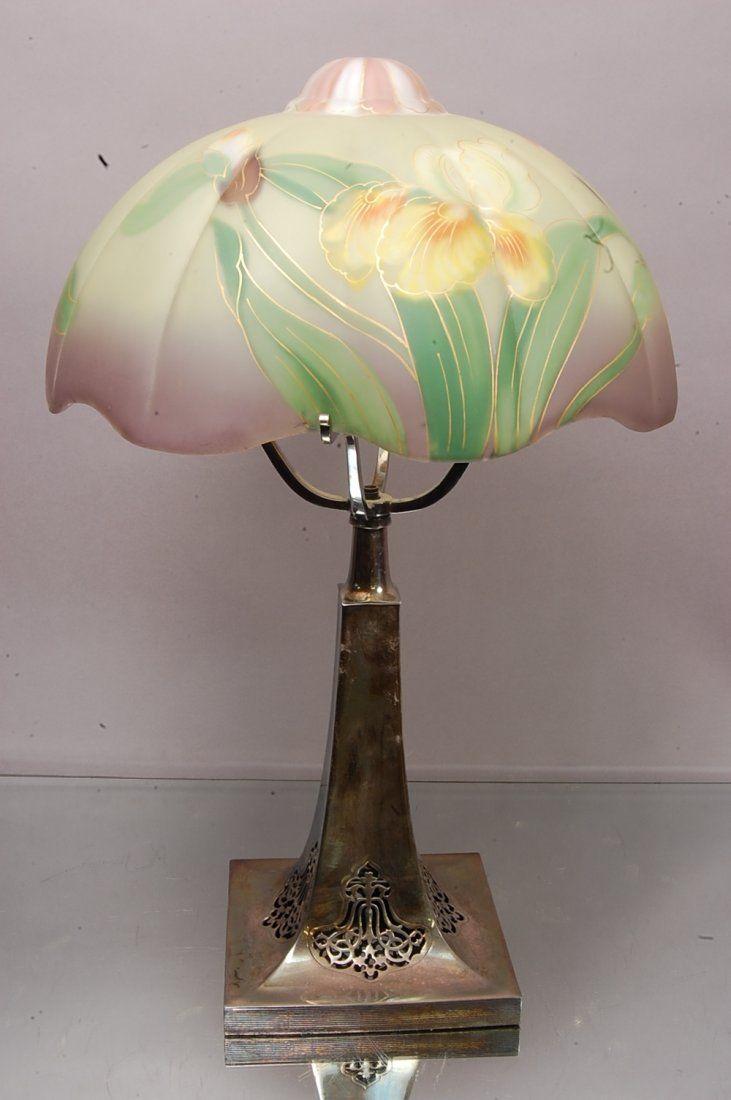 Lot:Pairpoint Art Noveau Reverse Painted Parlor Lamp, Lot Number:219, Starting Bid:$900, Auctioneer:Bruhn's Auction Gallery, Auction:Pairpoint Art Noveau Reverse Painted Parlor Lamp, Date:08:00 AM PT - May 19th, 2013