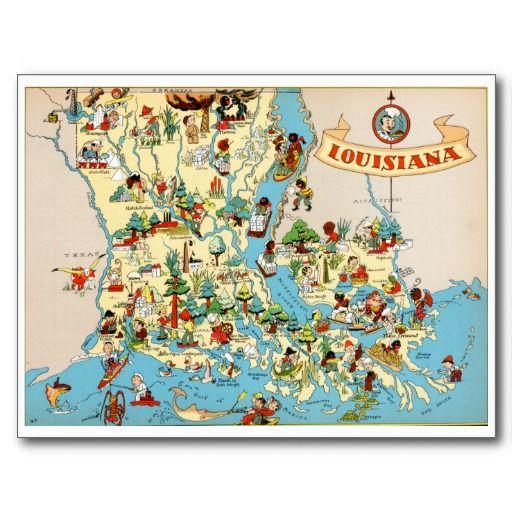 Vintage State Map Postcards Louisiana Vintage Map Postcard From Zazzle Com