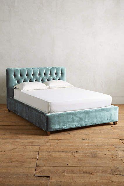 Slub Velvet Tufted Lena Bed - anthropologie.com | Bedroom | Pinterest