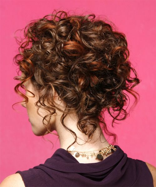 Wedding Hairstyle For Natural Curly Hair: Long Curly Mahogany Brunette Updo