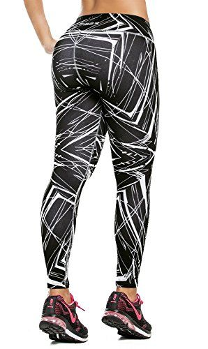 19fe4eb2e1959 Fiber Colombian Activewear Printed Leggings with Designs Gym Workout Tights  at Amazon Women's Clothing store:
