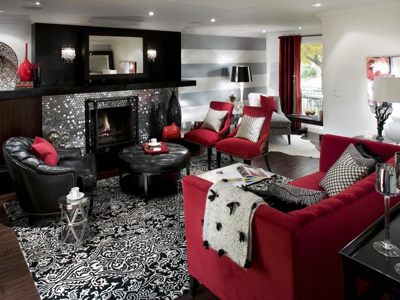 Retro Red Black And White Family Room White Living Room Decor